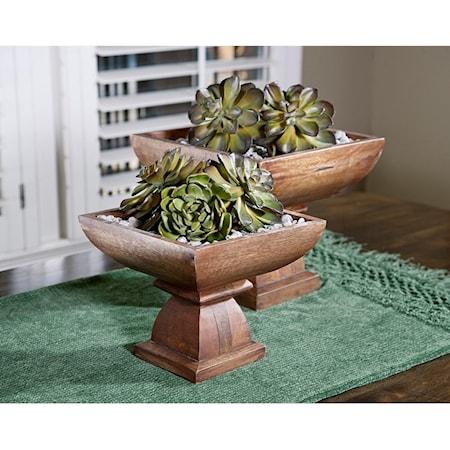 Julian Wood Pedestal Bowls - Set of 2