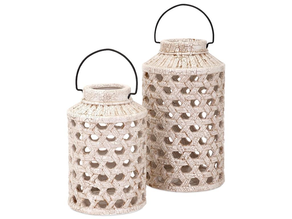 IMAX Worldwide Home Candle Holders and LanternsVerandah Large Cutout Ceramic Lantern