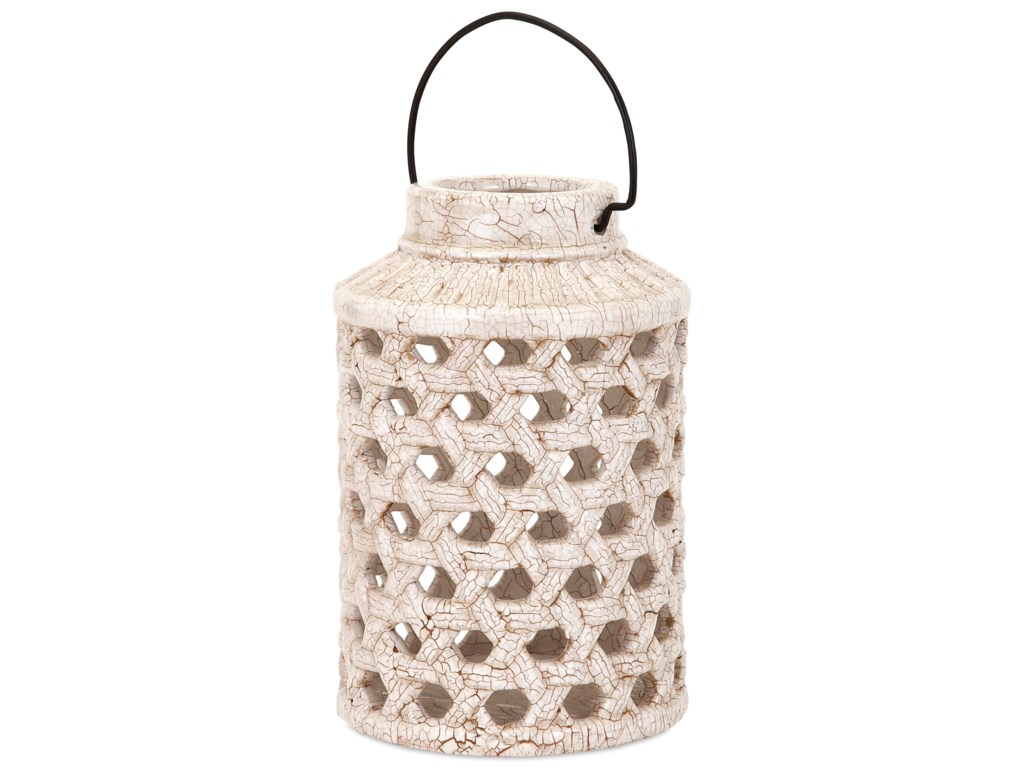IMAX Worldwide Home Candle Holders and LanternsVerandah Small Cutout Ceramic Lantern
