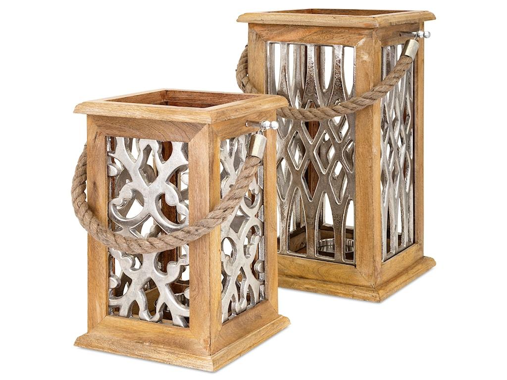 IMAX Worldwide Home Candle Holders and LanternsAnsley Large Wood and Aluminum Lantern