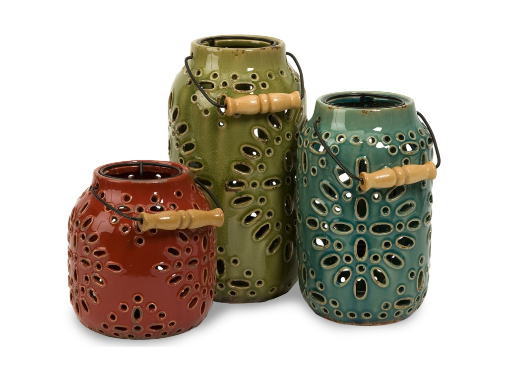 IMAX Worldwide Home Candle Holders and LanternsLuna Ceramic Lanterns - Set of 3