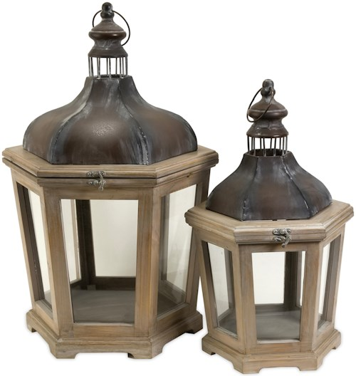IMAX Worldwide Home Candle Holders and Lanterns Pomeroy Wood and Metal Lanterns - Set of 2
