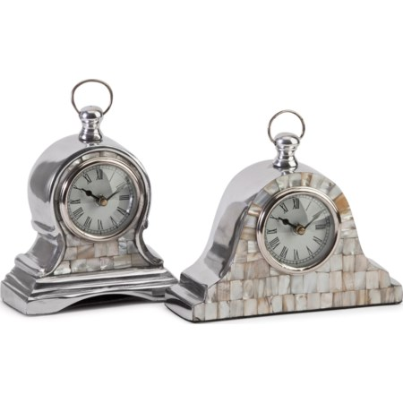 Aluminum Mother of Pearl Clocks - Set of 2