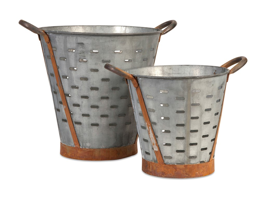 IMAX Worldwide Home Decorative FigurinesVintage Pierced Buckets - Set of 2
