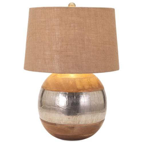 Imax worldwide home lighting nessa wood and metal clad lamp