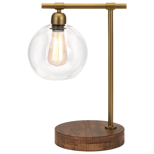 Imax worldwide home lighting amplitude glass and wood table lamp