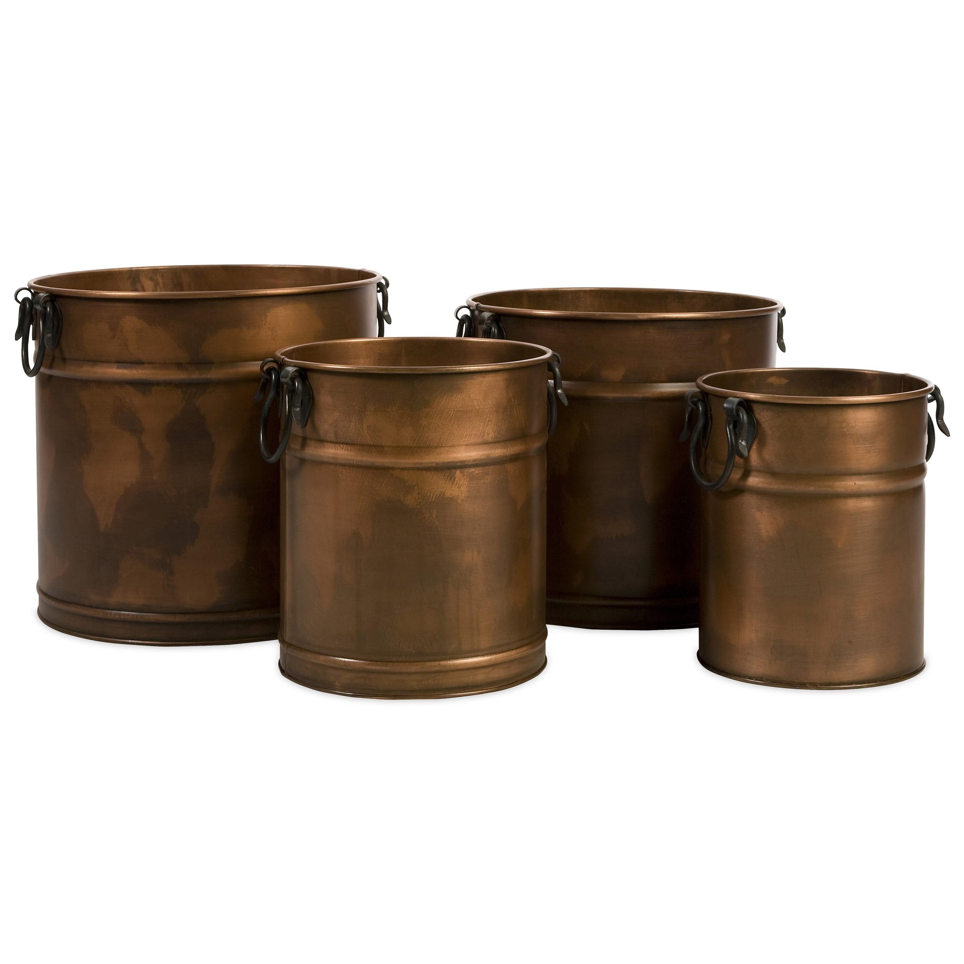 IMAX Worldwide Home Pots And PlantersTauba Round Copper Finish Planters    Set Of