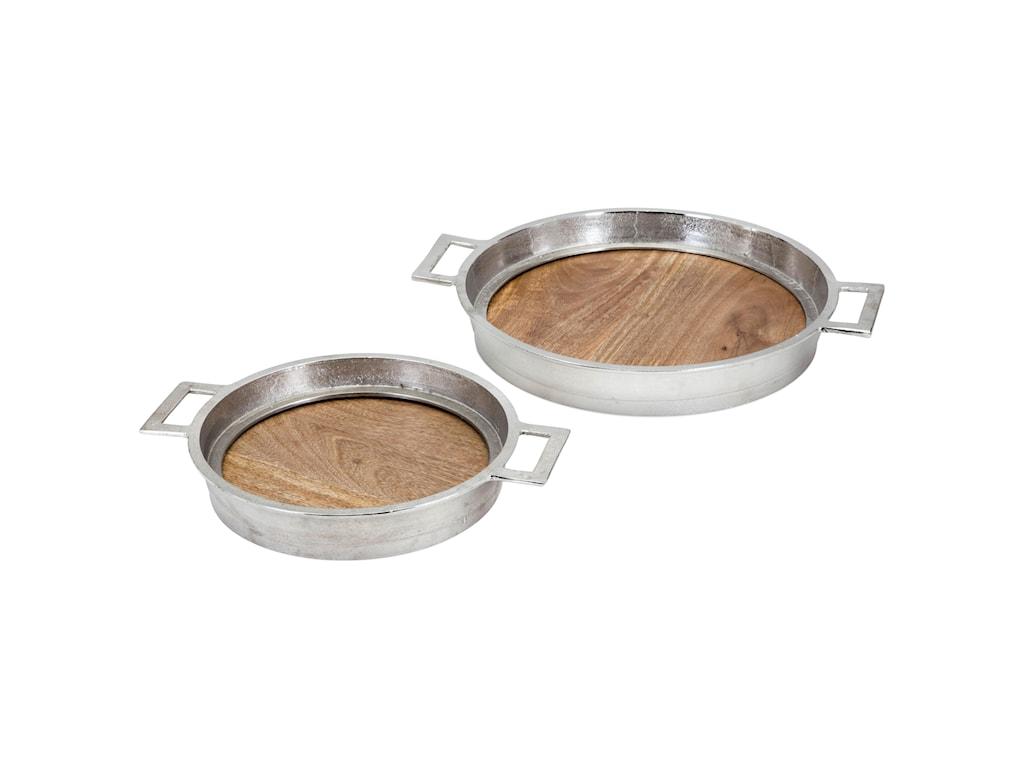 Imax Worldwide Home Trays Plates And Plattersbrice Wood Aluminum Set Of