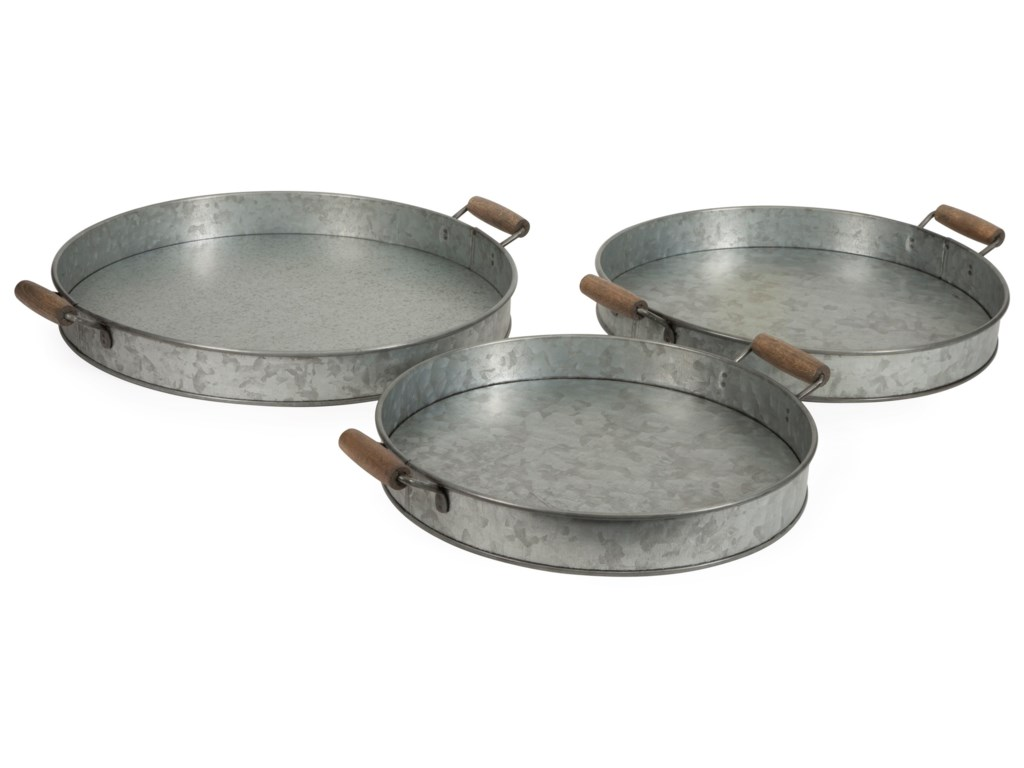 Imax Worldwide Home Trays Plates And Platters Galvanized Round Set Of 3
