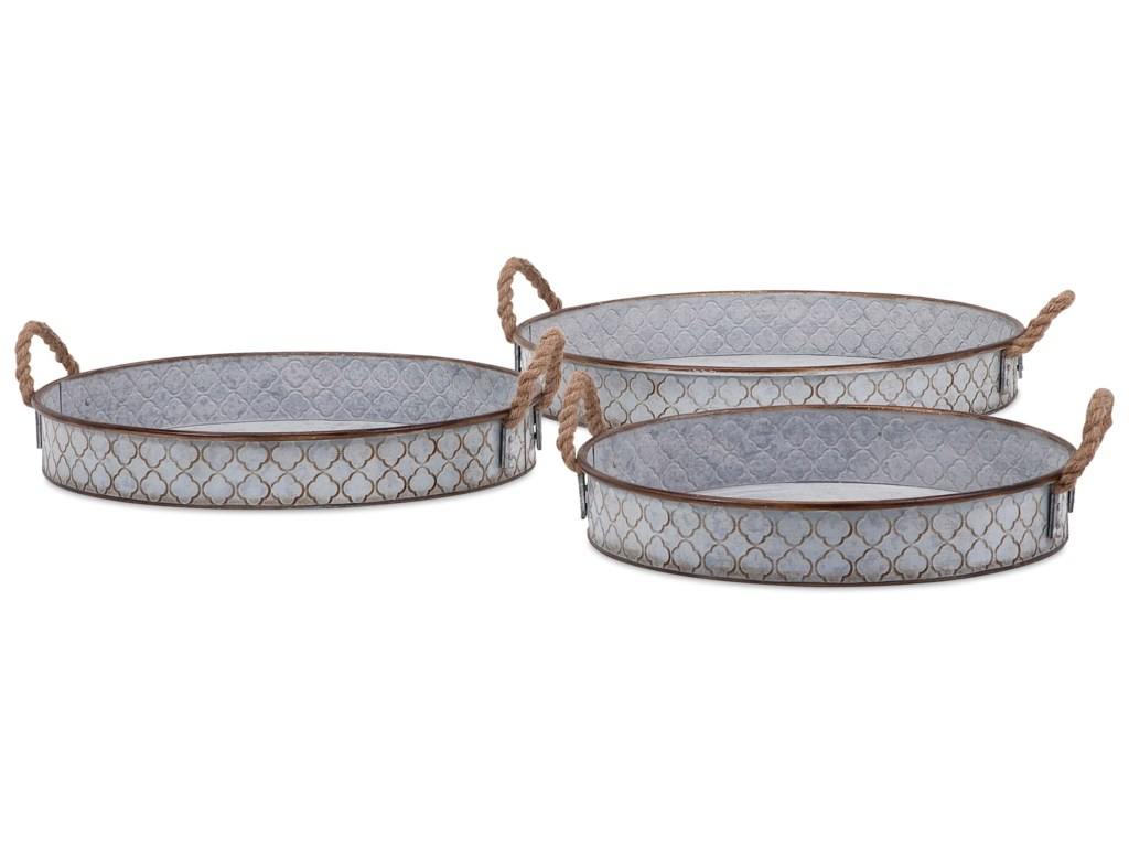 Imax Worldwide Home Trays Plates And Plattersbretton Metal Set Of 3