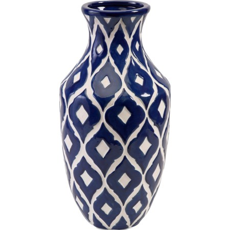 Maine Tall Blue and White Vase