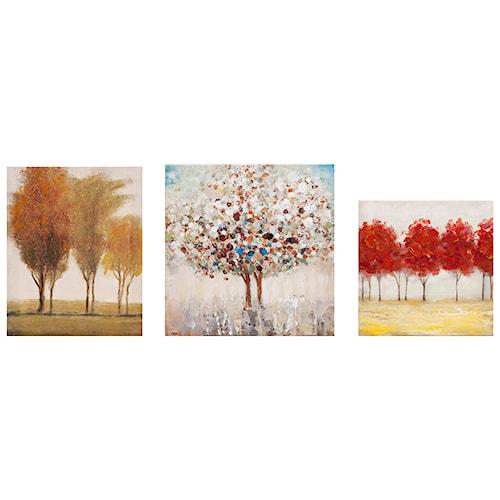 Imax worldwide home wall art miniature tree gallery art set of 3