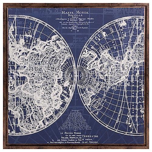 Imax worldwide home wall art harrington framed blue map