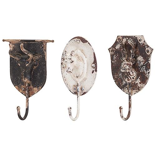 Imax worldwide home wall art burns metal animal wall hooks ast 3
