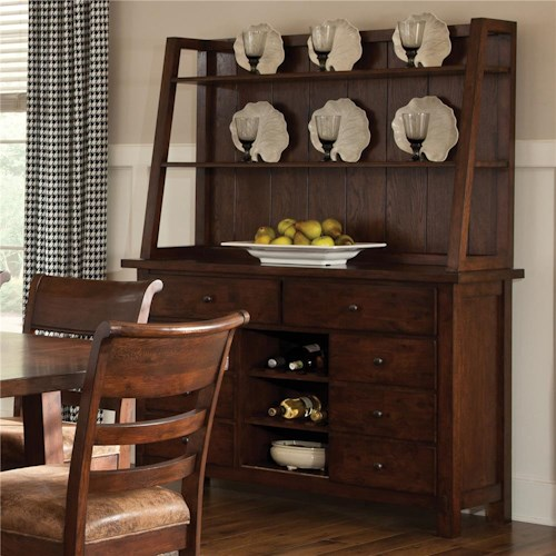 Intercon Bench Creek 3-Drawer China Cabinet with Wine Storage