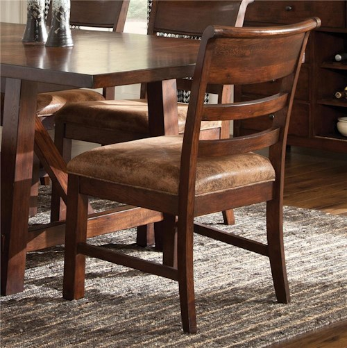 Intercon Bench Creek Ladder Back Side Chair with Upholstered Seat