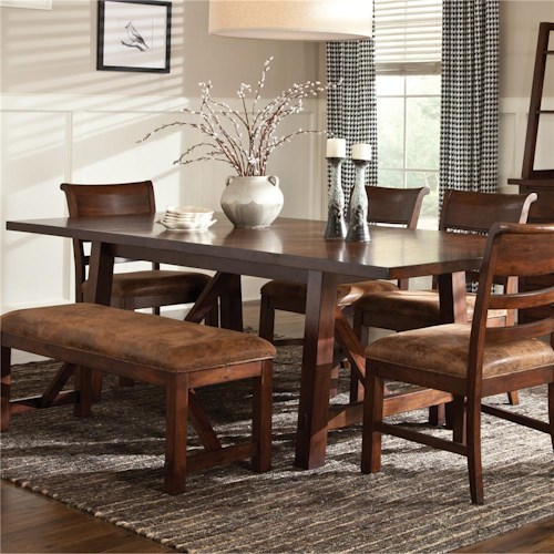 Intercon Bench Creek Rectangular Trestle Dining Table