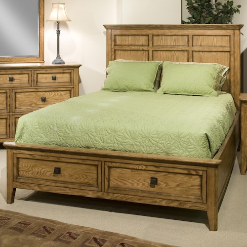 Intercon Alta Queen Low-Profile Bed with Footboard Storage Drawers
