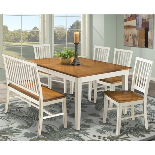 Intercon Arlington Dining Table With Slat Back Bench Side Chairs
