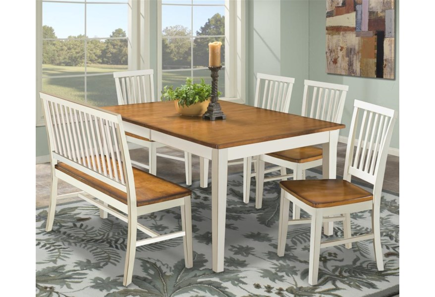 Arlington Dining Table with Slat Back Bench & Slat Back Side Chairs by  Intercon at Rife\'s Home Furniture