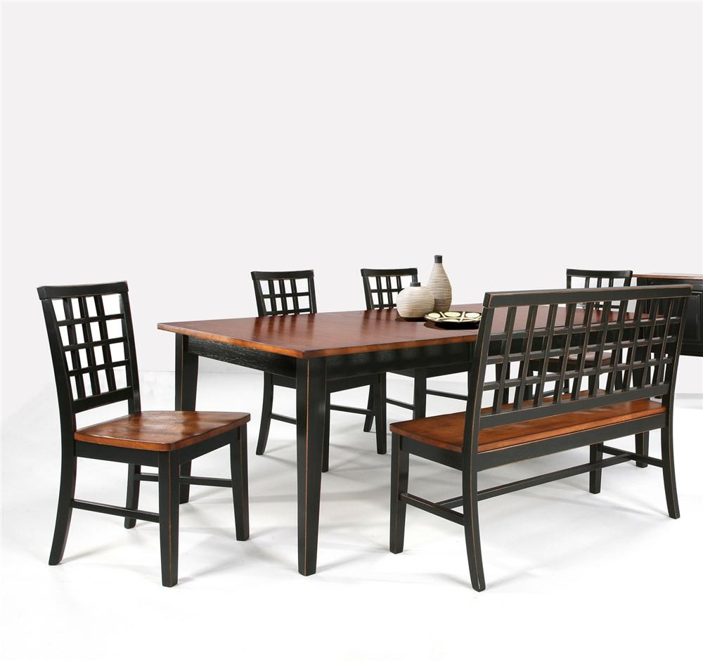 Intercon Arlington Dining Table With Lattice Back Bench U0026 4 Side Chairs