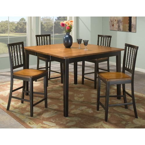 Intercon Arlington Gathering Table & Slat Back Bar Stools