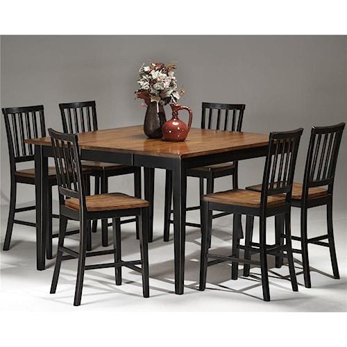 Intercon Arlington Gathering Table & Slat Back Bar Stools