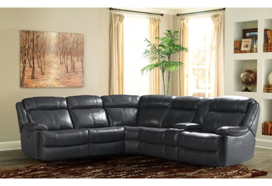 Vfm Signature Avalon Casual Dual Power Reclining Sectional Sofa With Power Headrests Usb Ports And Cup Holders Virginia Furniture Market Reclining Sectional Sofas
