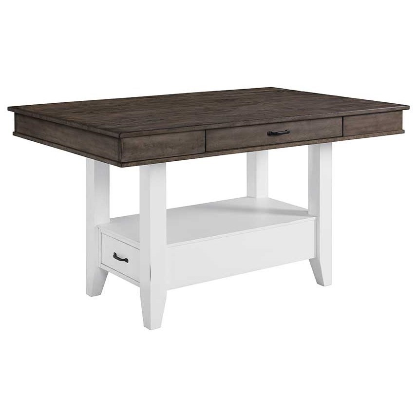 Intercon Belgium Farmhouse Rustic Kitchen Island With Drawer Storage Sheely S Furniture Appliance Pub Tables
