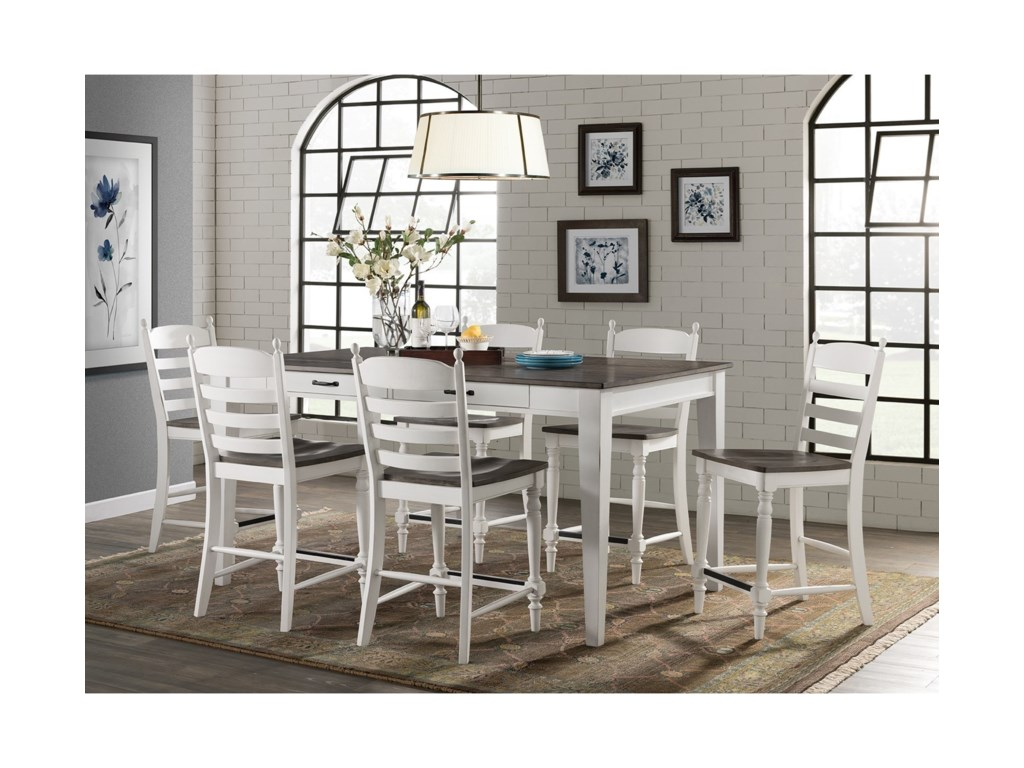 Intercon Belgium Farmhouse Rustic 7 Piece Counter Height Dining Set With Table Storage