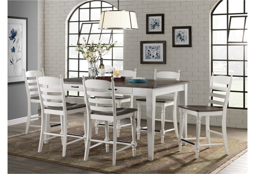 Belgium Farmhouse Rustic 7 Piece Counter Height Dining Set with Table  Storage by VFM Signature at Virginia Furniture Market