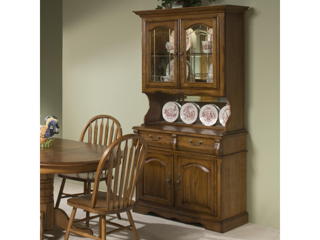 Clic Oak 42 China Hutch With Two Half Drawers Drawer Buffet By Vfm Signature