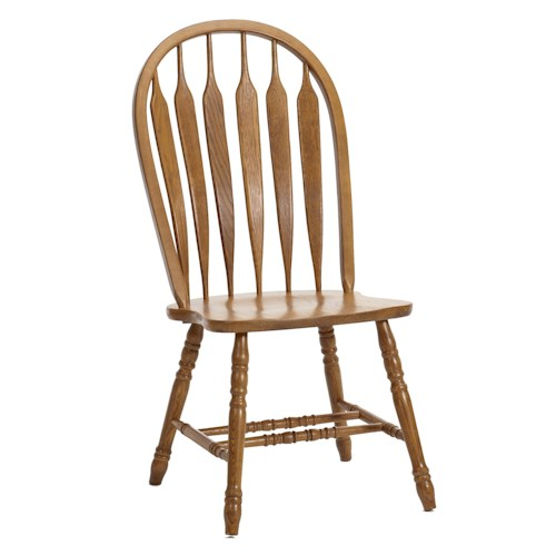 Intercon Classic Oak Turned Leg Curved Arrow Back Dining Side Chair