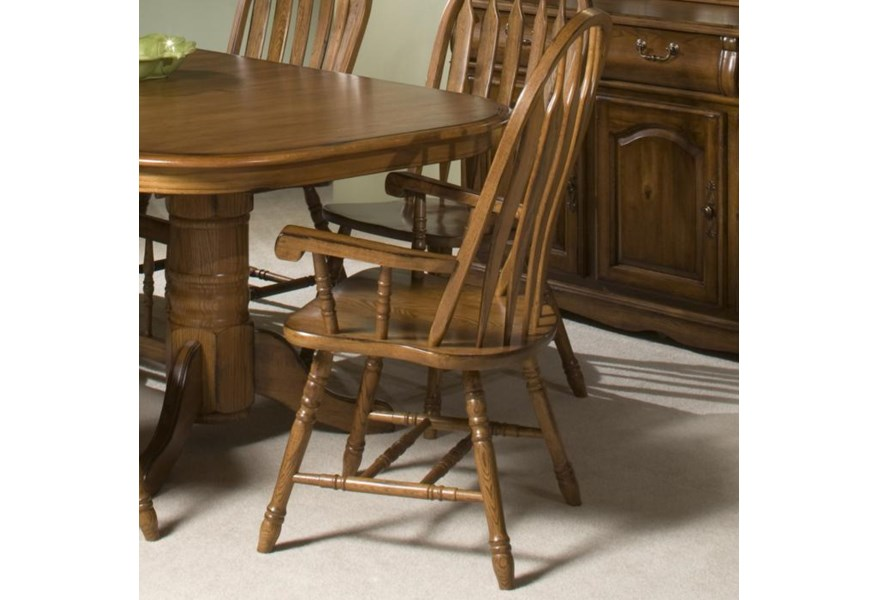Intercon Classic Oak Turned Leg Curved Arrow Back Dining Arm Chair Rife S Home Furniture Dining Arm Chairs