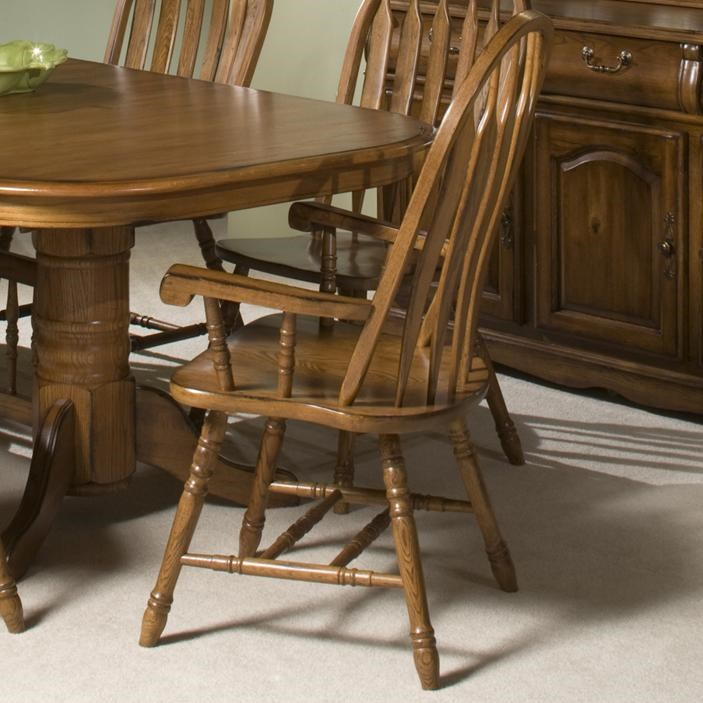 Classic Oak Turned Leg Curved Arrow Back Dining Arm Chair By VFM Signature