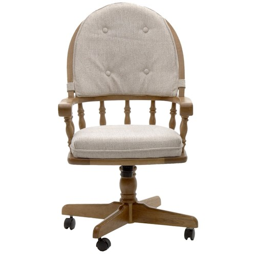 Intercon Classic Oak Swivel Game Chair with Casters and Cushion Back and Seat