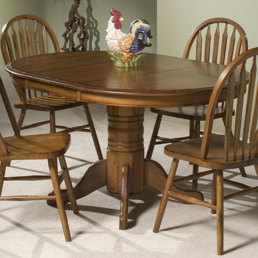 Intercon Classic Oak Single Pedestal Round Dining Table Wayside