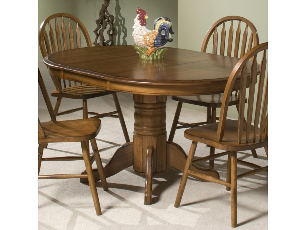 intercon classic oak single pedestal round dining table old brick furniture dining tables - Old Brick Dining Room Sets