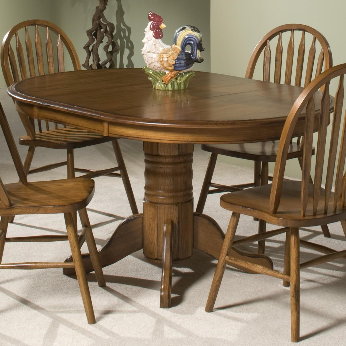 Oak Top Dining Table Part - 17: Intercon Classic Oak Single Pedestal Round Dining Table - Old Brick  Furniture - Dining Tables