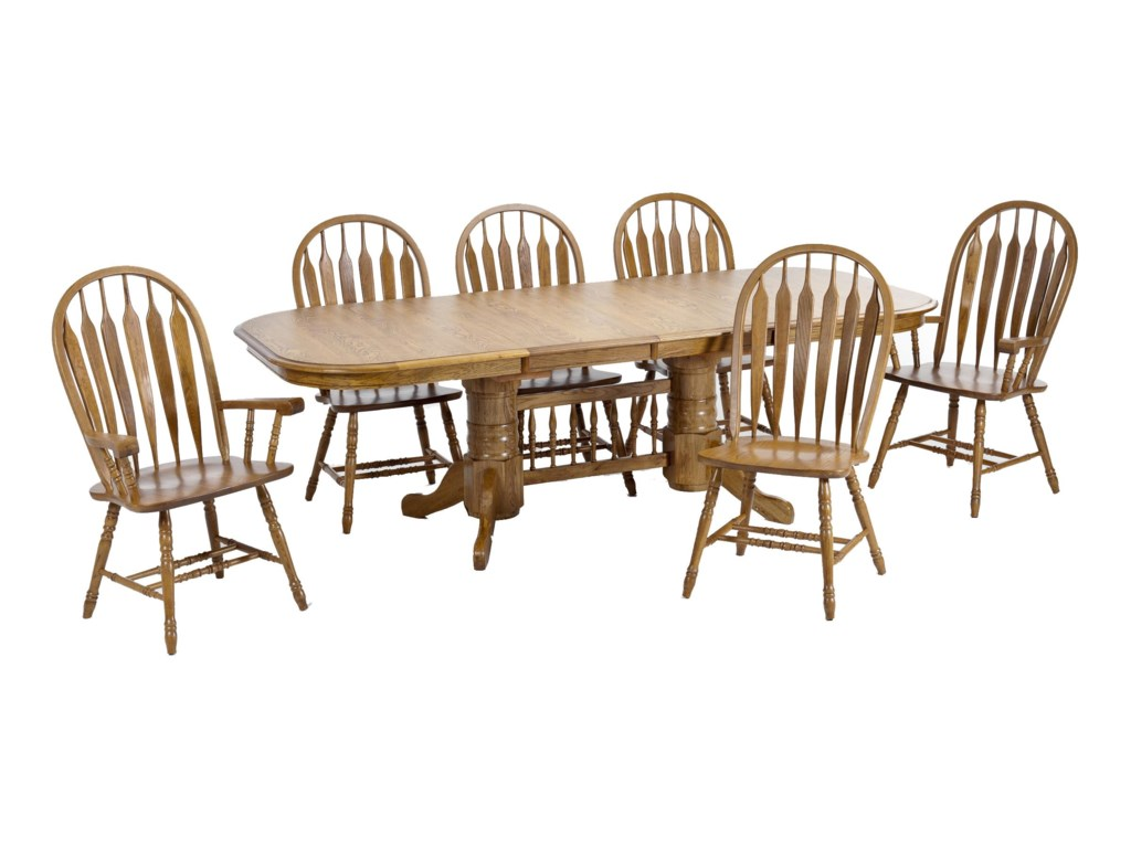Intercon Classic OakTrestle Table with Dining Chairs