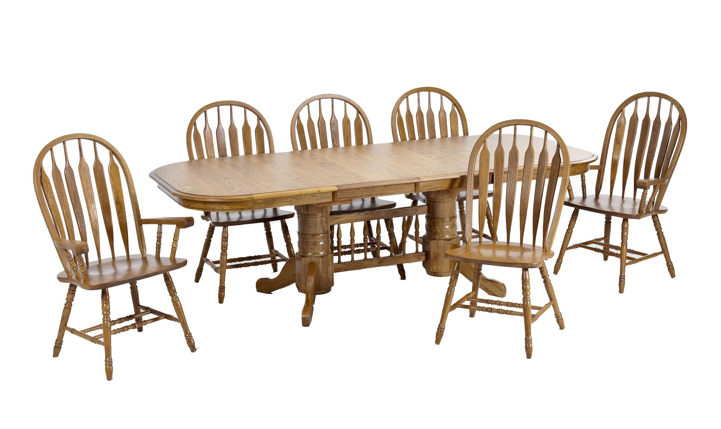 Intercon Classic Oak Trestle Table With Two Wide Curved Arrow Arm Chairs  And Four Wide Curved Arrow Side Chairs
