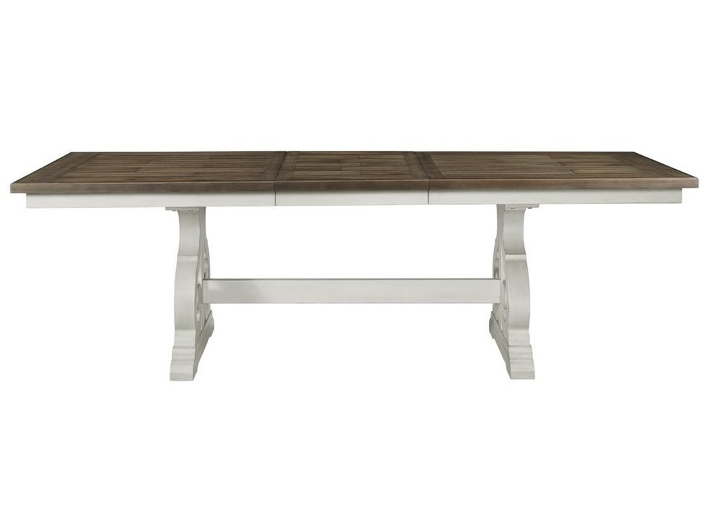 Drake Cottage Dining Table with Trestle Base and Storing Leaf by Intercon  at Wayside Furniture