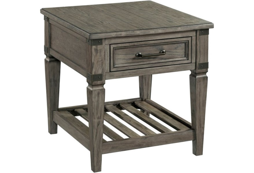 Foundry Relaxed Vintage End Table With Drawer And Lower Ladder Shelf Sadler S Home Furnishings End Tables