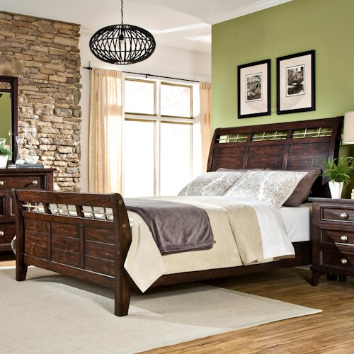 Intercon Hayden Queen Sleigh Bed with Metal Accent on Headboard & Footboard