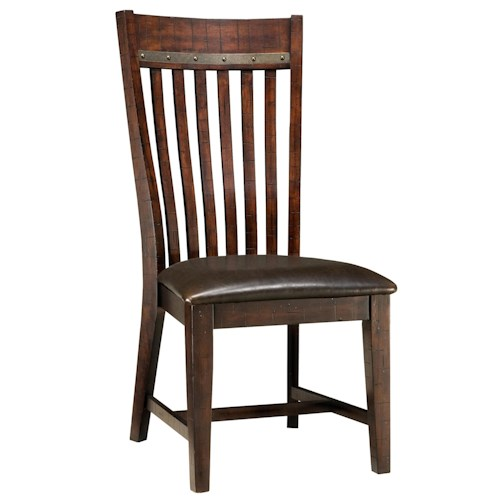 Intercon Hayden Slat Back Side Chair with Cushion Seat