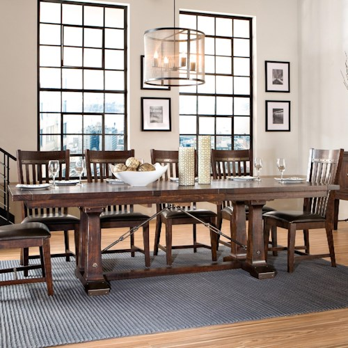 Intercon Hayden Trestle Dining Table With Metal Slides