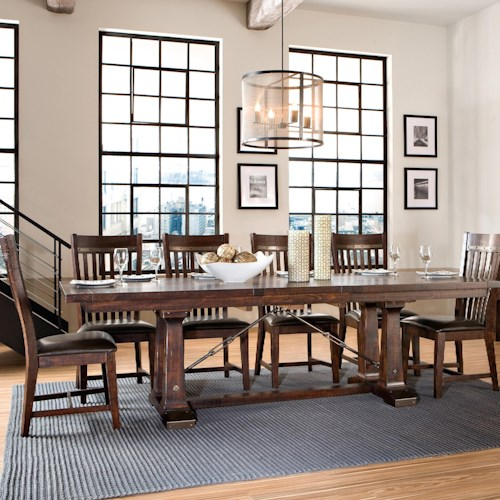 Intercon Hayden 7 Piece Trestle Table & Slat Back Chair Set