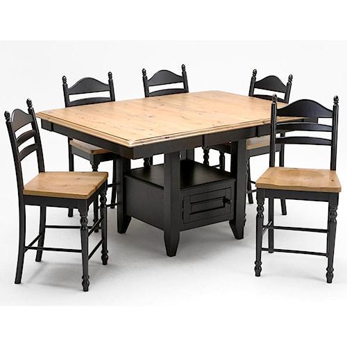 Intercon Hillside Village  Gathering Island Table and Ladder Back Bar Stool Set