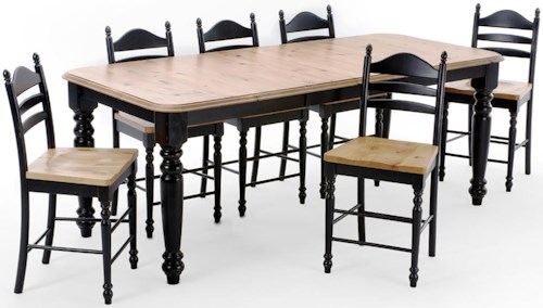 Intercon Hillside Village  Four Leg Counter Height Dining Table and Ladder Back Bar Stool Set.