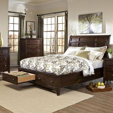 Intercon Jackson Transition California King Storage Bed with Sleigh Headboard